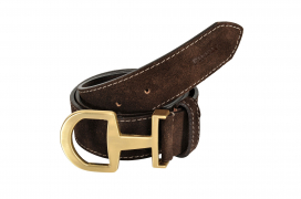 SUEDE BELT SNAFFLE BIT BUCKLE PIKEUR DARK BROWN/GOLD