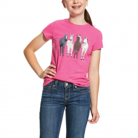 GIRLS 360 VIEW T-SHIRT ARIAT BEET PINK HEATHER