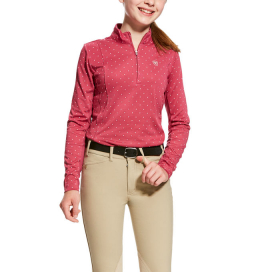 GIRLS SUNSTOPPER 1/4 ZIP ARIAT ROSE VIOLET DOT